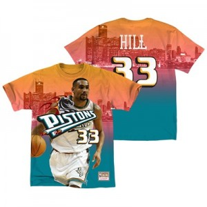 Detroit Pistons Hill City Pride Name & Number T-Shirt By Mitchell & Ness - Mens