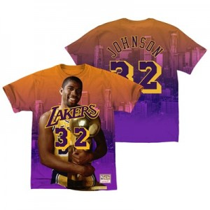 Los Angeles Lakers Johnson City Pride Name & Number T-Shirt By Mitchell & Ness - Mens