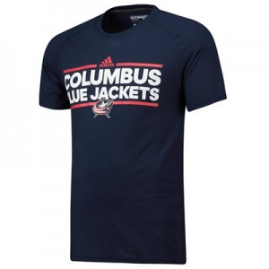 Columbus Blue Jackets adidas Authentic Ice Short Sleeve Climalite T-Shirt - Mens