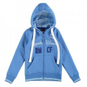 Real Madrid Applique Full Zip Hoodie - Royal Blue - Girls