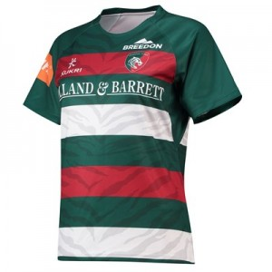 Leicester Tigers Home Replica Jersey 2018/19 - Green/Red/White - Womens